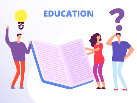 Help in education, education courses vector concept. People education with book illustration Ilustração