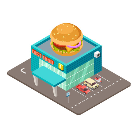 Fast food restaurant. Isometric modern burger house building vector concept. Cafe fast food with burger on roof illustration