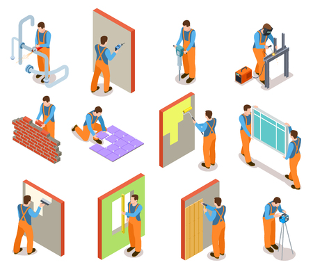 Isometric construction workers. Builder doing various works with material professional equipment. Industrial construction vector set. Illustration of professional worker isometric, equipment builder