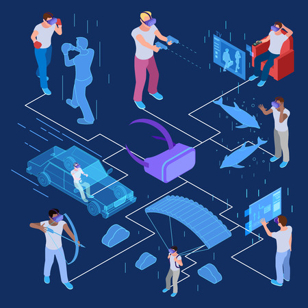Isometric virtual reality with men vector concept. Illustration of isometric virtual reality, headset for game Illustration