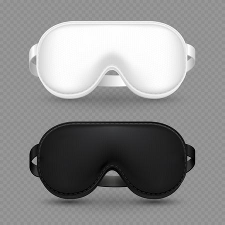 White and black realistic sleeping mask vector isolated on transparent background. Travel mask for sleep night illustration