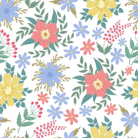 Spring flowers seamless patten. Garden summer flower motif floral texture vector backgrond. Background seamless color flower illustration Vektorové ilustrace