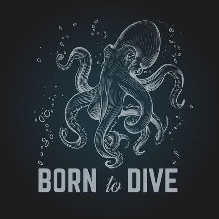 Manifesto del polpo. Nato per dave sfondo di immersioni con gesso disegnato a mano vintage. Illustrazione vettoriale retrò di polpo scuba. Polpo sott'acqua, mostro marino con tentacolo