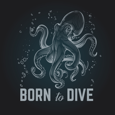 Octopus-poster. Geboren om vintage hand getrokken krijtduikachtergrond te daven. Octopus scuba retro vectorillustratie. Octopus onder water, zeemonster met tentakel