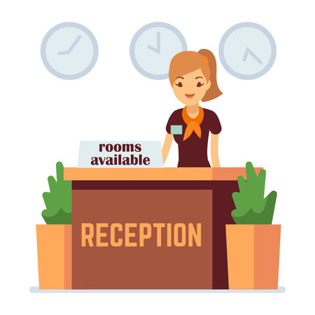 Hotel or hostel reception with cartoon girl. Rooms available vector concept. Hotel receptionist, reception desk service illustration