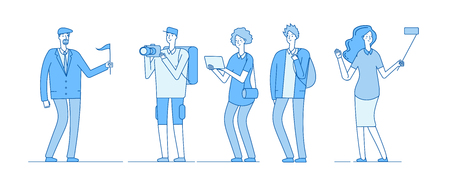 Tourists group. Guide young people with backpack family tourists tour groups girl take selfie man photographer travel vector concept. Illustration of guide man and traveler tour Illustration