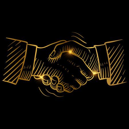 Hand drawn handshake. Businessmen making handshake golden vector design. Handshake business success, agreement contract illustration 일러스트