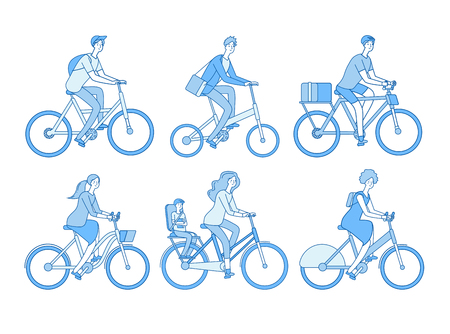 Cyclist set. Active people riding bicycle, adult persons bicyclist in helmet biking. Isolated line vector characters. Illustration of cyclist people, relaxation and sportive transportation