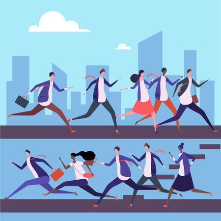 Cartoon men and women run to work vector illustration. Business success concept. Teamwork businessman and businesswoman run race Illustration