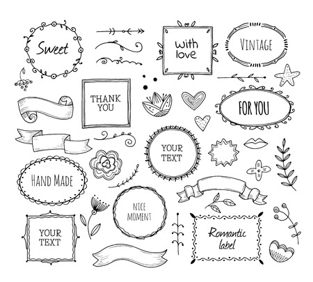 Scrapbook sketch elements. Doodle square borders decorative banner hand drawn photo frame fashion ribbons vintage cartoon vector set. Illustration of photo frame doodle, scribble scrapbook Zdjęcie Seryjne - 125339262