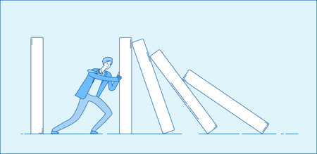 Domino effect. Businessman holding falling domino. Determination resistance pushing chain reaction hard work business vector concept. Businessman with domino reaction, hard deck illustration