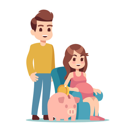 Pregnant woman, man and piggy bank. Saving money for future flat vector illustration. Woman pregnancy with big belly, save money to parenthood