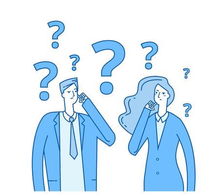 Couple de réflexion. Jeune fille confuse avec des points d'interrogation. Les gens en difficulté pensent concept vectoriel. Illustration de la femme et de l'homme confus et problème Vecteurs