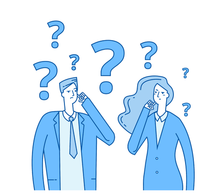 Thinking couple. Confused young girl man with question marks. Troubled people think vector concept. Illustration of woman and man confused and problem
