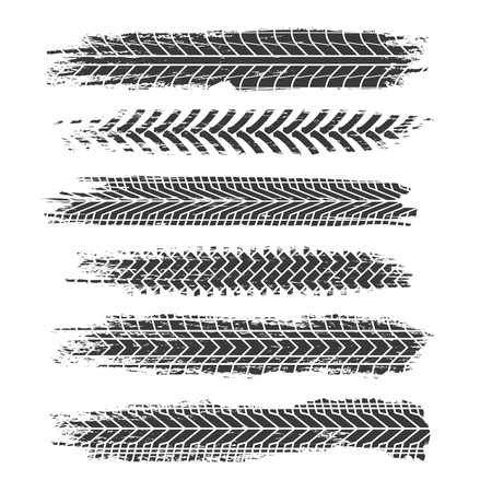 Tire tracks. Motorcycle, car and truck dirty grunge road tire prints. Tread automobile vector isolated set. Illustration of rubber dirt truck, trace and track from illustration Vettoriali