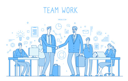 Outsourcing team concept. Creative business teamwork office workers handshaking. Collaboration trendy flat outline vector background. Teamwork outsourcing management, coworking people illustration