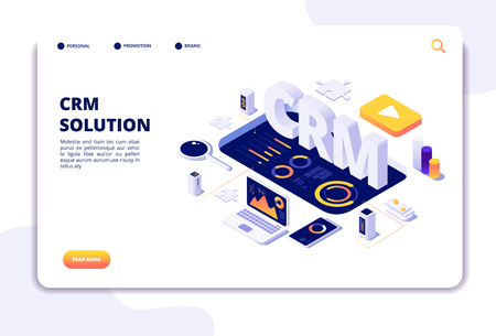 Crm concept. Customer relationship management. Business system solution. Client support landing page. Crm business marketing, management and strategy illustration