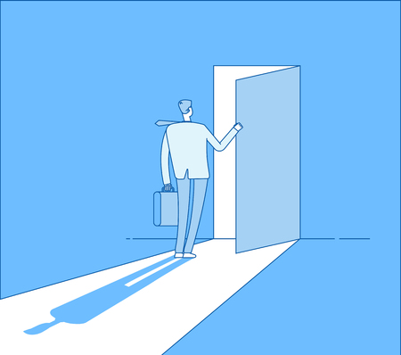 Businessman opens access. Secret door opportunity, accessible entering. Risk solution and leadership business vector concept. Businessman open door, opportunity and accessibility illustration