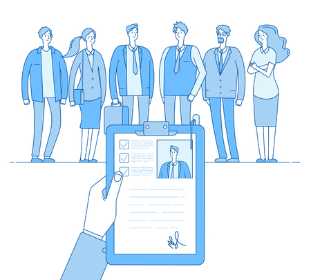 Staff recruitment. Human resources selection, employment job cv. People candidates interview. Hr choice employer linear vector concept. Illustration of employee hr, recruitment candidate Illustration
