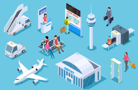 Airport isometric. Passenger luggage, airport terminal. Tower plane passport checkpoint. Business airline travel management vector set. Airport and airplane, luggage and plane illustration