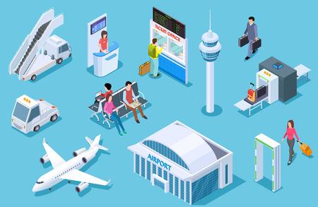 Flughafen isometrisch. Passagiergepäck, Flughafenterminal. Passkontrolle des Tower-Flugzeugs. Business-Airline-Reisemanagement-Vektor-Set. Flughafen und Flugzeug, Gepäck und Flugzeugillustration