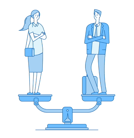 Gender equality. Man and woman on scale in balance. Women rights gender equal employment feminism vector line business vector concept. Balance gender female and male in blue illustration