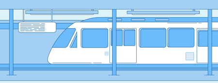 Subway train. Underground empty station with metro express train. Subway transportation vector concept. Illustration of train underground metro, subway and railway transport