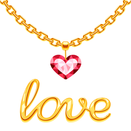 Golden chain with crystall pink heart and gold sign love vector isolated on white background. Illustration of golden chain and red crystal love