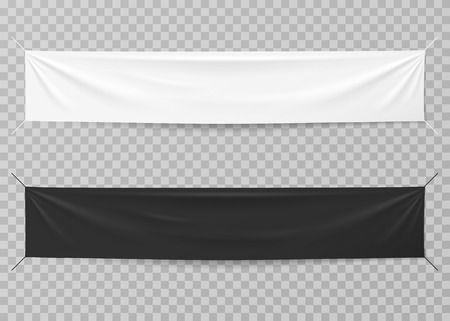 Textile banners. Black and white blank horizontal advertising cloths. Folded empty cotton stretched canvas. Vector mockup. Illustration of horizontal cotton canvas, fabric sheet Stock Vector - 125339288