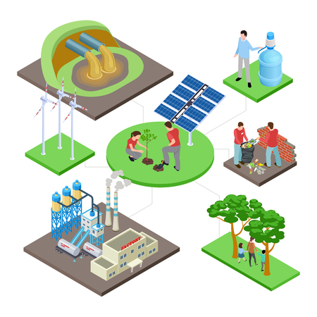 Ecology isometric concept with green technologies, nature revival, water and air pollution vector illustration. Eco energy and ecology, wind power and environment