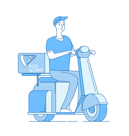 Pizza delivery. Boy riding motorbike, scooter delivers pizza away. Food free home delivering service line vector concept. Motorbike with pizza box, delivery motorcycle courier illustration