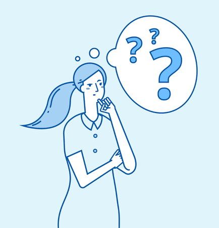 Girl in doubt. Young confused woman thinking. Pensive worried thoughtful businesswoman with problems vector concept. Lady thinking and pensive, uncertainty blue drawing illustration Illustration