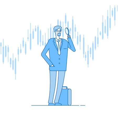 Investor with magnifier. Investments business challenge opportunity. Successful finance control growth chart vector linear. Illustration of business leadership, looking at investment Illustration