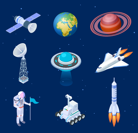 Isometric spaceships. Space satellite rocket telescope globe spaceman astronaut. Missile spacecraft 3d isolated vector set. Illustration of rocket satellite and spaceship in universe Çizim