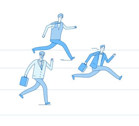Running businessmen. Jogging people run track race winning team. Leadership achievement teamwork competition business vector concept. Success competition business, speed people on track illustration Illustration