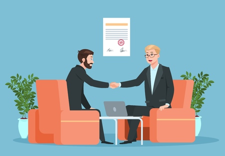 Business contract. Partnership, businessmen handshaking after signing agreement. Purchase deal investment consultant vector concept. Illustration of partnership handshake and agreement Illustration