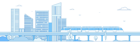 Subway cityscape. Monorail metro train in megapolis futuristic panorama. Underground transportation vector line concept. Express speed, fast train, cityscape building illustration