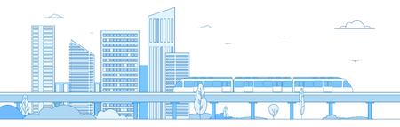 Subway cityscape. Monorail metro train in megapolis futuristic panorama. Underground transportation vector line concept. Express speed, fast train, cityscape building illustration Vektorové ilustrace