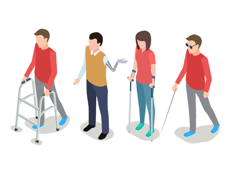 Vector disabled people isometric isolated on white background. Illustration of disabled person isometric Illustration