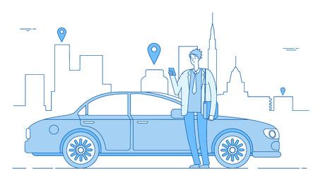 Car sharing concept. Car rental application businessman with smartphone at car on city street. Parking service line vector concept. Illustration of car rent app, service online carsharing