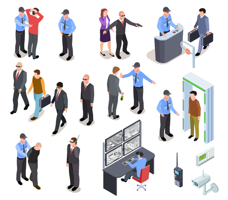 Security system isometric concept. Secure police officer checkpoint access equipment, personal guard, criminal identity. 3d vector set. Illustration of checkpoint for verification and inspection