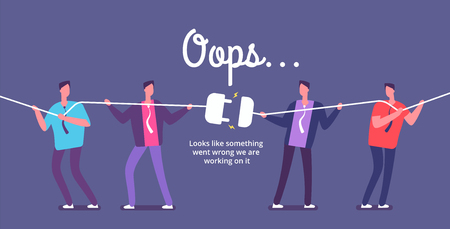 Disconnect plug concept. Angry people unplug connection. Error 404 page not found vector web design. Illustration of disconnect plug, business power electricity