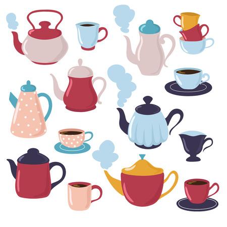 Collezione di teiere e tazze. Bollitore dell'acqua del fumetto e tazze di porcellana con tè. Insieme di vettore di stoviglie. Teiera della tazza, illustrazione della bevanda del tè