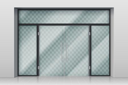 Eingangstür aus Glas. Automatische Eingangstüren des Einkaufszentrums mit Reflexion und Chromrahmenvektorillustration. Eingangstür zur Boutique oder zum Markt Vektorgrafik