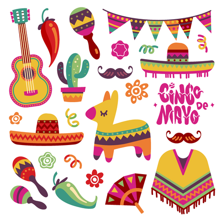 Mexican fiesta set. Cinco de mayo party elements sombrero, pinata and chili pepper, guitar vector collection. Mexican party and mexico sombrero, fiesta and cinco de mayo illustration