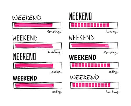Caricamento del fine settimana. Buon venerdì meme preventivo business divertente disegno vettoriale. Illustrazione della positività del fine settimana, carico motivazionale