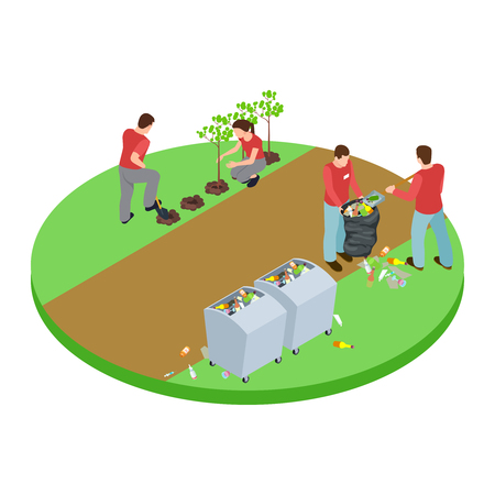 Volunteers take out the trash in the park and plant trees isometric vector concept. Illustration of tree park, volunteer and plant tree