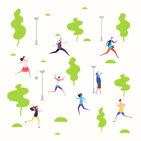 Active people in the spring park, walking and running people vector illustration. Park spring outdoor, run sport, runner and jogging 向量圖像