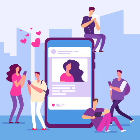 Social media concept. People follow smartphone with message and like. Vector smartphone and networking, social online feedback illustration