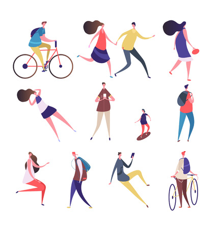 Cartoon people walking street. Man woman with smartphone, riding bike skateboard in summer outdoor activities. Vector characters female and male cartoon illustration Reklamní fotografie - 124965642